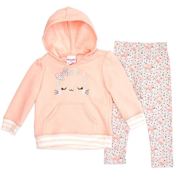 Nannette Peach Kitten Hoodie & Floral Leggings